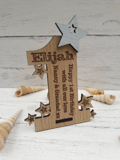 Personalised First 1st Birthday Card Oak Wooden Keepsake Gift